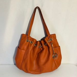 Authentic Michael Kors Orange Leather Hobo Bag